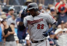 Minnesota Twins' Miguel Sano reacts as he rounds the bases after hitting a home run during the sixth inning of a baseball game against the San Diego Padres Wednesday, Aug. 2, 2017, in San Diego. (AP Photo/Gregory Bull) - Benoit